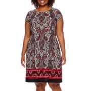 R&K Originals® Cap-Sleeve Border-Print Fit-and-Flare Dress - Plus