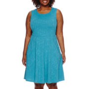 R&K Originals® Sleeveless Textured Fit-and-Flare Dress - Plus
