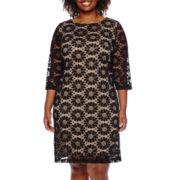 RN Studio by Ronni Nicole® 3/4-Sleeve Circle Lace Sheath Dress - Plus