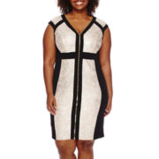 Melrose Cap-Sleeve Zip-Front Sheath Dress - Plus