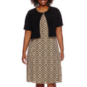Danny & Nicole® Short-Sleeve Pleated Jacket Dress - Plus