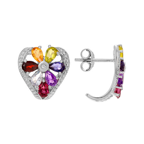 Genuine Multi-Gemstone Heart Sterling Silver Stud Earrings