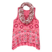 Arizona Faux Suede Sharkbite-Hem Tank Top with Scarf - Girls 7-16
