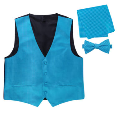 jcpenney.com | Metallic Grid Vest, Bow Tie & Pocket Square Set