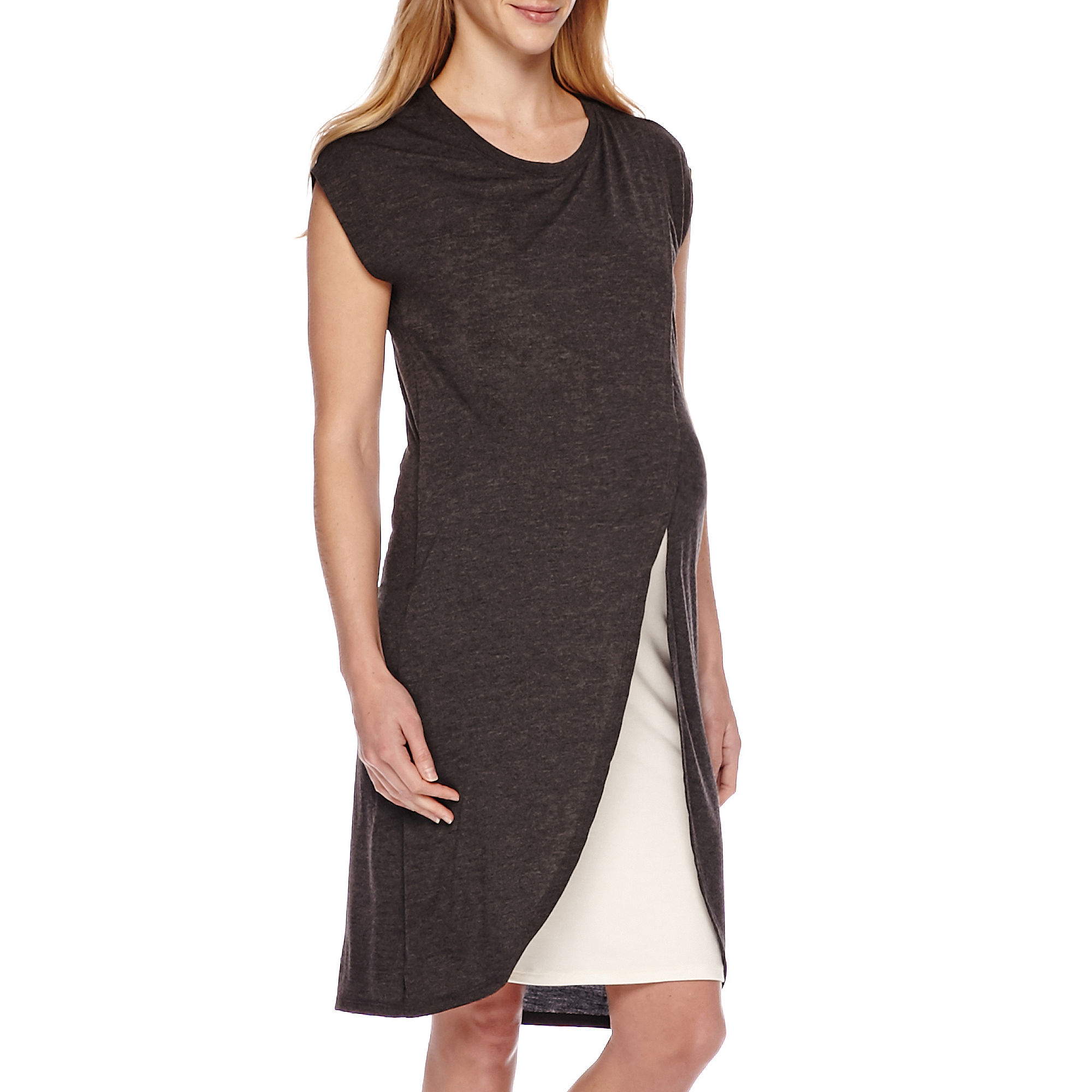 Maternity Cross-Over Cotton Nursing Dress - Plus plus size,  plus size fashion plus size appare