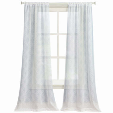 jcpenney.com | Laura Ashley® Chancery 2-Pack Sheer Embroidered Rod-Pocket Curtain Panels