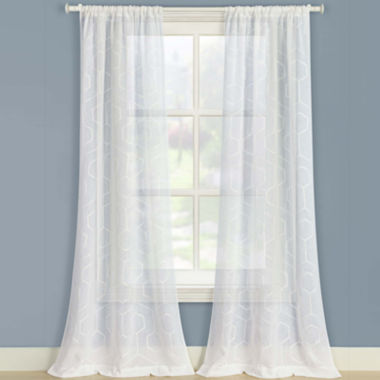 jcpenney.com | Laura Ashley® Linton 2-Pack Sheer Embroidered Rod-Pocket Curtain Panels