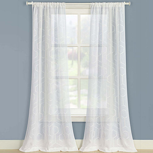 Laura Ashley® Linton 2-Pack Sheer Embroidered Rod-Pocket Curtain Panels