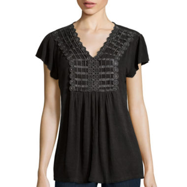 jcpenney.com | Unity™ Flutter-Sleeve Oil Wash Top