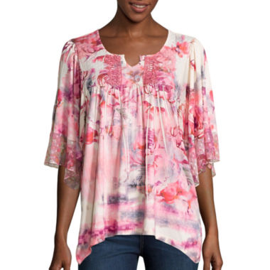 jcpenney.com | Unity™ 3/4-Sleeve Print Peasant Top
