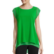 Worthington® Short-Sleeve Double Layer Top