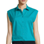 Worthington® Sleeveless Button Front Oxford Shirt