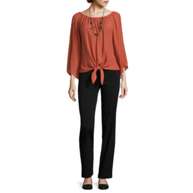 jcpenney.com | Alyx® Long-Sleeve Knot-Front Top with Necklace or Straight-Leg Pull-On Pants