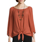 Alyx® Long-Sleeve Gauze Woven Top with Necklace