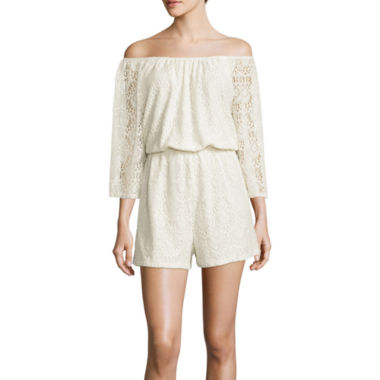 jcpenney.com | Lily Black Off-the-Shoulder Lace Romper