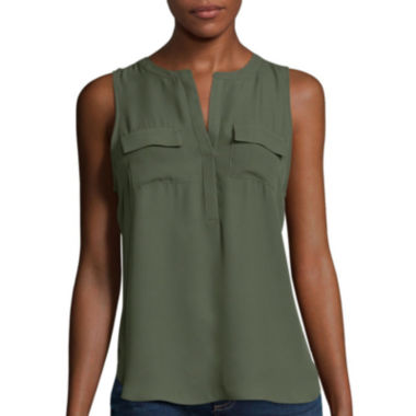 jcpenney.com | a.n.a® 2-Pocket Henley Popover Tank Top