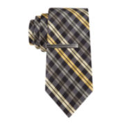 JF J. Ferrar® Plaid Tie and Tie Bar - Slim