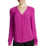 Worthington® Long-Sleeve Button-Front Blouse