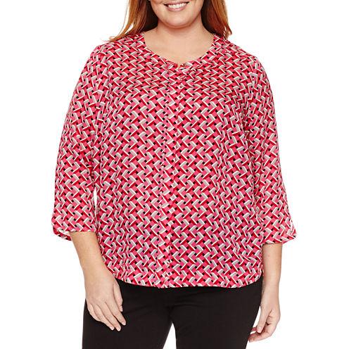 Liz Claiborne 3/4 Sleeve Y Neck Woven Blouse-Plus