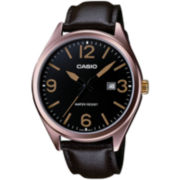 Casio® Mens Black Dial Brown Leather Strap Watch
