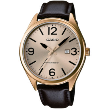 jcpenney.com | Casio® Mens Champagne Dial Brown Leather Strap Watch MTP1342L-9B