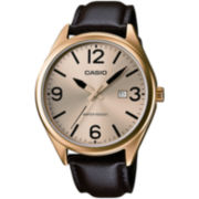 Casio® Mens Champagne Dial Brown Leather Strap Watch