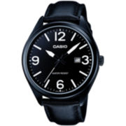 Casio® Mens Black Leather Strap Watch