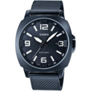 Casio® Mens Steel Gray Mesh Strap Watch