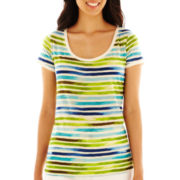Liz Claiborne Short-Sleeve Striped Scoopneck Tee - Petite