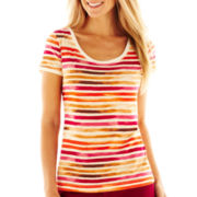 Liz Claiborne Short-Sleeve Striped Scoopneck Tee