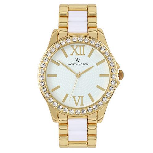 Worthington® Ladies Two Tone Crystal Accent Bracelet Watches