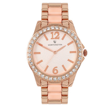 jcpenney.com | Worthington® Ladies Rose Gold Tone Crystal Accent Bracelet Watches