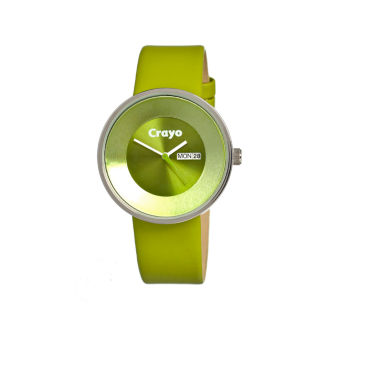 jcpenney.com | Crayo Unisex Button Green Leather-Band Watch With Day&Date Cracr0203