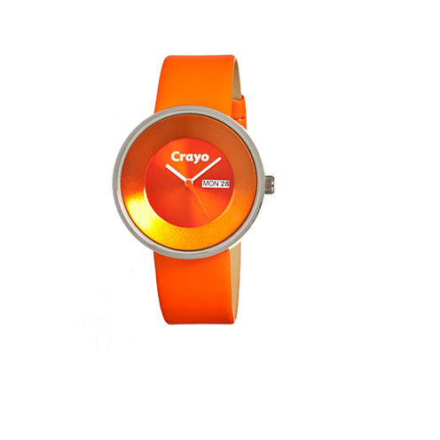 Crayo Unisex Button Orange Leather-Band Watch With Day&Date Cracr0205