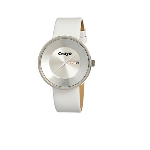 Crayo Unisex Button White Leather-Band Watch With Day&Date Cracr0208