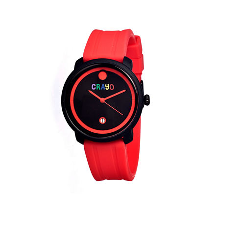 Crayo Unisex Fresh Red Rubber-Strap Watch With Date Cracr0309
