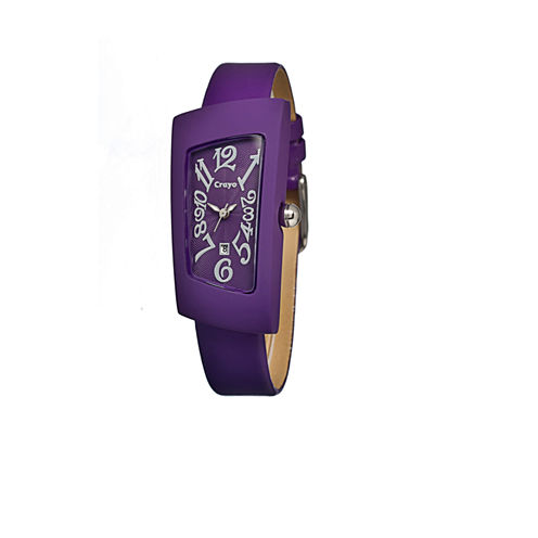 Crayo Womens Angles Purple Leather-Band Watch With Date Cracr0406