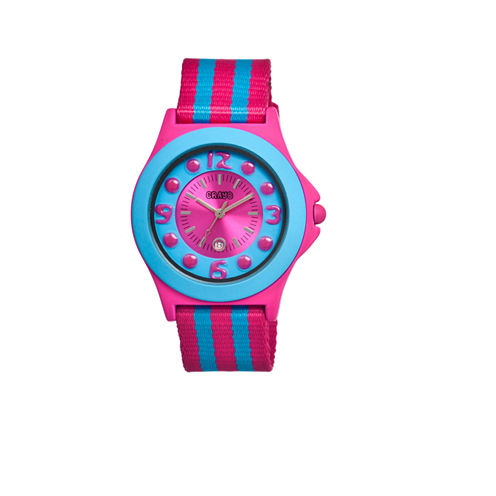 Crayo Women's Carnival Pink & Blue Nylon-Strap Watch with Date Cracr0708