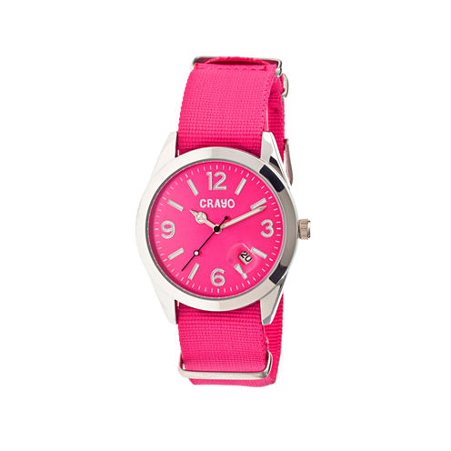 Crayo Women's Sunrise Pink Nylon-Band Watch with Date  Cracr1708