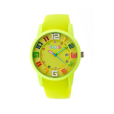 jcpenney.com | Crayo Women's Festival Lime Silicone-Band Watch with Date Cracr2002