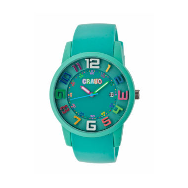 jcpenney.com | Crayo Women's Festival Teal Silicone-Band Watch with Date Cracr2003
