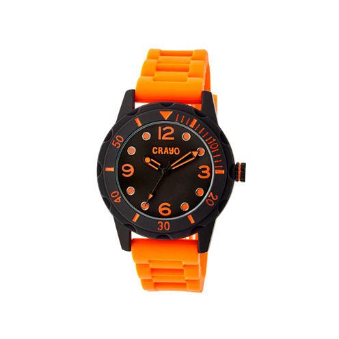 Crayo Unisex Splash Orange Strap Watch Cracr2204