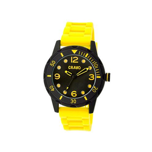 Crayo Unisex Splash Yellow Strap Watch Cracr2205