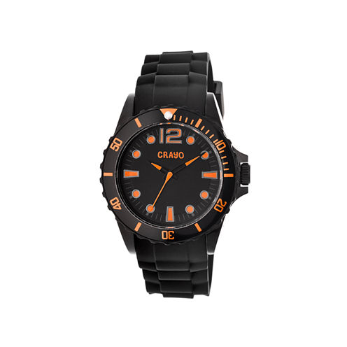 Crayo Unisex Fierce Black & Orange Strap Watch