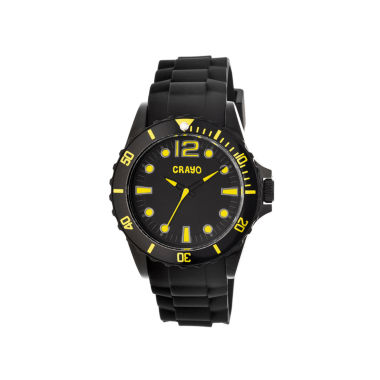 jcpenney.com | Crayo Unisex Fierce Black & Yellow Strap Watch