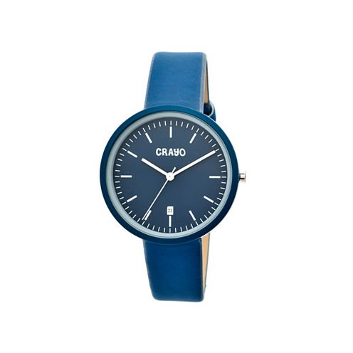 Crayo Womens Easy Navy Leather-Band Watch With Date Cracr2407