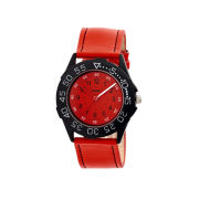 Crayo Womens Fun Red Leather-Band Watch Cracr2503