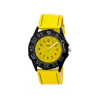 jcpenney.com | Crayo Womens Fun Yellow Leather-Band Watch Cracr2505