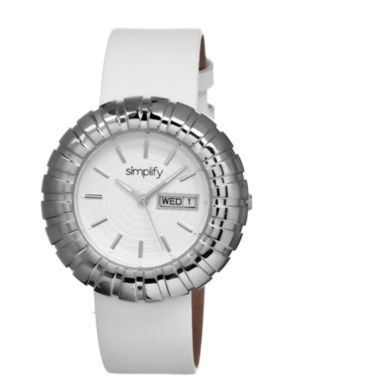 jcpenney.com | Simplify Womens The 2100 White Dial White Leather-Band Watch With Day&Date Sim2101