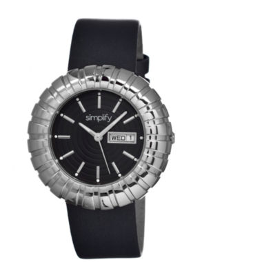 jcpenney.com | Simplify Womens The 2100 Silver With Black Dial Leather-Band Watch With Day&Date Sim2102